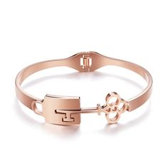 Gorgeous Stainless Steel Bangles, with The Key to The Locks, Rose Gold