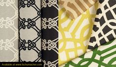 Kelly Wearstler for Schumacher. I love the yellow undertone and the graphic black and white knots.