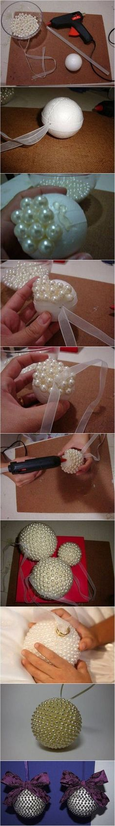 Creative Ideas - DIY Pearl Beads Ball Christmas Ornaments