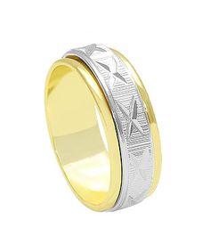 Aliança grossa folheada a ouro c/ aplique prateado  http://www.imagemfolheados.com.br/?a=3434