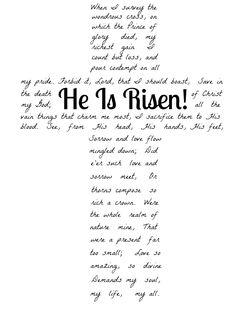 He Is Risen/When I Survey the Wondrous Cross | Free Printable | A Humble Creation