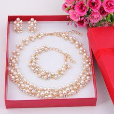 Imitation Simulated-Pearl Gold Plated Simple Elegant Bridal Jewelry Sets Kit…