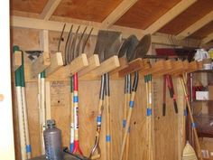 Store your tools tidy against the wall to take up less space .
