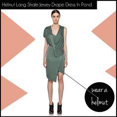 Helmut Lang Shale Jersey Drape Dress In Pond