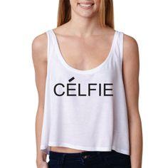 0a6d6278f0a26 Items similar to Celfie.Selfie Parody. Boxy Tank. Crop Top. Trendy. Sexy. Womens  tank. Flowy. Juniors. Celine Paris inspiired on Etsy