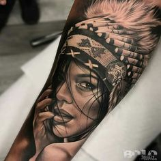 Native American Girl Tattoo by Bolo Art Tattoo - Tattoos - tattoos Indian Women Tattoo, Indian Girl Tattoos, Indian Tattoo Design, Indian Chief Tattoo, Tattoo Girls, Girls With Sleeve Tattoos, Tattoos For Women, American Indian Girl, Native American Girls