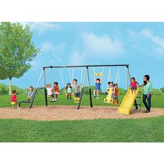 You'll have hours of fun with the Castleton Swing Set with Slide, SeeSaw and Fun! The swing set features:<br><br><ul><li>6 foot Wave Slide, 2 Person Air-Glider, See-Saw for 2</li><br><li>1 'Kid Comfort' Swing, 1 Shoe-Loop Swing - Both with Vinyl covered Chain, Deluxe Trapeze</li><br><li>'ROCKET-RIDER' Play for up to 2, FOAM Tubing Protectorant for Frame Legs ( Safety for Kids )</li><br><li>YELLOW - Slide, Swing Seats, Air-Glider Seats, See-Saw Seats, Trapeze, Rocket Rider…