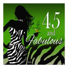 Dawn ::CUSTOM:: Bombshell Zebra 45th Birthday Personalized Invitation