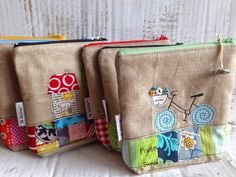 "I have finished some ""Utensilos"" - versatile and cute pouches ... vintage linen combined with colourful patchwork fabrics - patchwork plus ..."