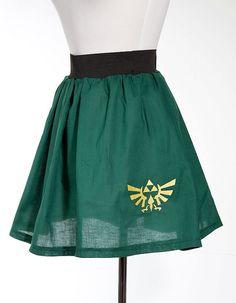 Legend of Zelda Hyrulian Crest Triforce Embroidered Skirt Green Medium