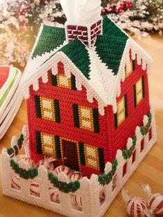 Christmas Winter House Tissue Box Cover Santa Winter Christmas House Christmas Bathroom Decoration Needlepoint