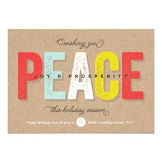 Colorful & Bright Bold Kraft Paper Peace Joy Prosperity Modern Holiday Greetings Flat Card by fatfatin | Custom Corporate Business Holiday Greetings