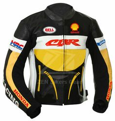Three Tone Black Yellow White Cont Honda Racing CBR Bell Helmets Shell GAS Motorcycle Racing Leather Jacket · Robleatherseller · Online Store Powered by Storenvy Biker Style, Jacket Style, Captain America Leather Jacket, Bell Helmet, Races Outfit, Leather Jacket Outfits, Cbr, Black N Yellow, Cool Shirts