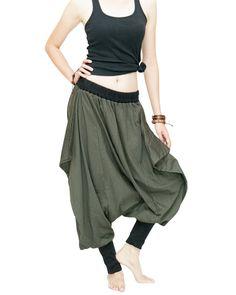 Tribal Low Crotch Baggy Tobi Pants Stretch Jersey Cotton (Olive Green)