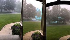 Uma filmagem intrigante feita nos EUA, mostra algum tipo de estranha energia azul se movendo pelo ar, no meio de uma tempestade de granizo.