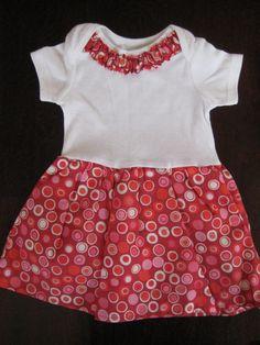 Onesie Baby Dress Size 0  3mo  Red Polka Dot  Ready by AwaitingAda, $15.00