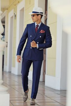 Menswear, Mens Style, Mens Fashion, Clothing, Fancy, 1940's Style, 1940's Inspired, Blue Suite, Pocket Square, Hats