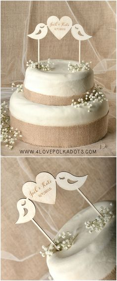 Wooden Wedding Cake Topper with birds #weddingideas #caketopper #weddingcake #wood #rustic #romantic #lovebirds