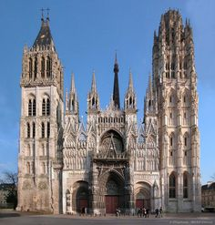 "Cathedrale Rouen  ""NORMANDY, FRANCE - We did not miss seeing the grandeur of the façade with two towers at Cathedrale de Notre-Dame de Rouen.-hir."