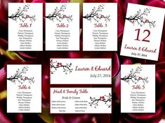 Love Bird Wedding Seating Chart Template | Love Bird Tree Branch Burgundy Red Black Word Template | Table Number Card | Wedding Download by PaintTheDayDesigns