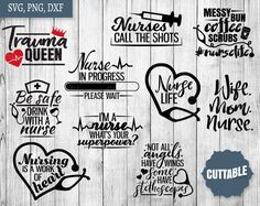 Nursing SVG Bundle, nurse quote svg pack cut files, 10 nurse life cut files for cricut, commercial use, bundle love nurses for silhouette