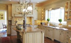 cream and gold tuscan kitchen