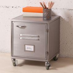 Chevet en métal gris caisson 1 porte casier style industriel decoclico factory