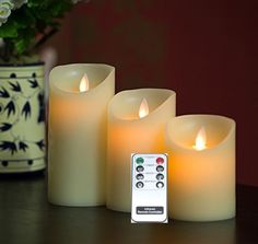 Remote Included 3 Pieces Set Moving Flame Wick Candle with Timer, Real Wax Pillar Candle in 3 Sizes, NOT Luminara but same flame effect - Set of 3 pieces Moving Flame Wick Candles, your best solutions for gifts.