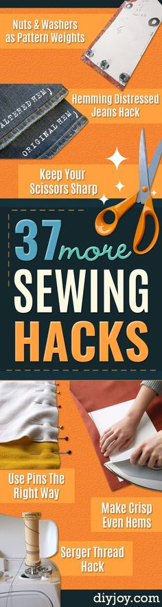 More Sewing Hacks - Best Tips and Tricks for Sewing Patterns, Projects, Machines, Hand Sewn Items. Clever Ideas for Beginners and Even Experts  - Easy Tutorials, Patten Shortcuts and How To http://diyjoy.com/best-diy-sewing-hacks