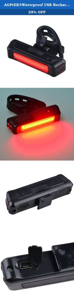 AGPtEK®Waterproof USB Rechargeable COB LED Bicycle Front Rear Light Bike Cycling Tail Light Lamp 6 Modes 100 Lumen (red). Description: Material: Plastic Light emitting color: red Light emitting mode: 6 modes Lamp beads: 1 LED type: COB Battery: built-in 3.7V 500MAH lithium battery Product dimensions: 8 *2.2 *1.8CM Mini USB cable length (male port): 50CM Can be used as both front and rear light Switch at the top Charging port on the back 10cm length elastic band is stretchable; Can adjust...