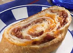 Baked Club Sandwich Rounds. Pillsbury Crusty French Loaf, cheddar cheese, turkey, ham & bacon. Roll up, bake, slice & EAT. Perfect little appetizers for cocktail parties.