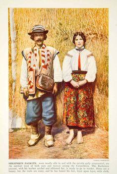 1938 Color Print Ruthenian Peasant Costume Fashion Traditional Historical XGGD4