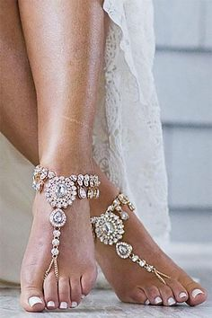Beautiful ideas for outdoor wedding shoes. Barefoot sandals for a backyard wedding. Love the rhinestone crystals. Take a look at them in the fourth listing on the page. Buy through the link there, on My Online Wedding Help. Outdoor Wedding Shoes, Sparkly Wedding Shoes, Beach Wedding Shoes, Wedding Shoes Bride, Lace Bride, Wedding Bands, Sandals Wedding, Beach Wedding Guests, Summer Wedding