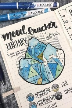 Bullet Journal Mood Tracker Setup & Adorable Inspiration - Crazy Laura Need a cute and simple bullet journal mood tracker? This list of awesome examples will help you get started! Bullet Journal Mood Tracker Ideas, January Bullet Journal, Bullet Journal Cover Page, Bullet Journal Notebook, Bullet Journal Themes, Bullet Journal Spread, Bullet Journal Layout, Bullet Journal Inspiration, Journal Ideas