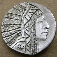Seth Gasdaska - Indian Chief with Decorative Face Framing Headdress Antique Coins, Face Framing, Headdress, Jewelry Collection, Buffalo, Brooch, Indian, Personalized Items, Antiques