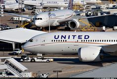 theboeingfactory:    aerospaceairaviation:    You have got to be lucky to see two United Airlines Boeing 787 Dreamliners in the same picture with Boeing 737s in the background at Houston George Bush Intercontinental Airport!    The new, and the old.    For a second, I thought this was the Boeing plant.