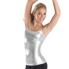 Brighten the stage in this premium metallic camisole top. Great for layering. #Metallic #Silver
