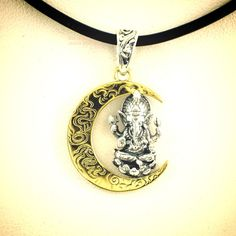 925 Sterling Silver Lord Ganesha on Golden Moon