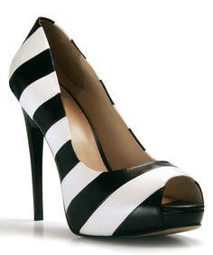 Black & White Stripe Tiffany Leather Pump | zulily