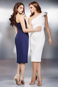 Jovani 23886 Form fitting knee length stretch white scuba cocktail dress with ruching on the waist and back slit features one shoulder neckline with ruffle. Elegant Dresses, Sexy Dresses, Nice Dresses, Short Dresses, Prom Dresses, Formal Dresses, Knee Length Cocktail Dress, One Shoulder Cocktail Dress, Shoulder Dress