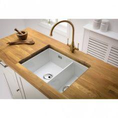 White Ceramic Kitchen Sink, Wooden Kitchen, Ceramic Undermount Sink, Grey Kitchen Designs, Scrap Material, Bowl Sink, Kitchen Countertops, White Ceramics, Faucet