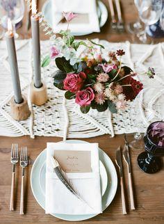 Boho chic wedding table decor: http://www.stylemepretty.com/2016/11/10/boho-chic-fall-wedding/ Photography: Sylvie Gil - http://www.sylviegilphotography.com/