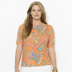 Lauren Ralph Lauren Plus Size Cotton Paisley Boat Neck Top #VonMaur #LaurenRalphLauren #Printed #Orange #Paisley