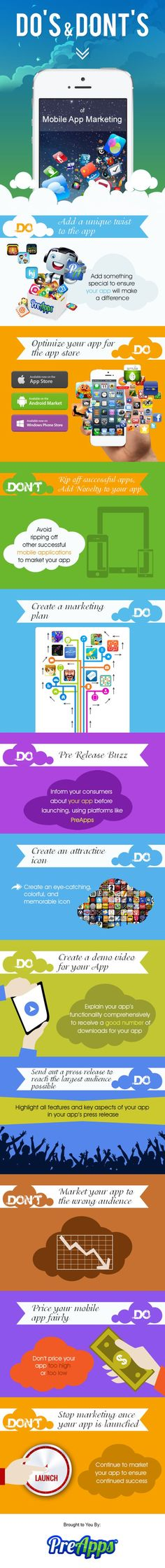 Do's & Dont's of mobile APP marketing #infografia #infographic #marketing