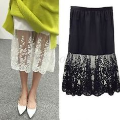 skirt Lace Half Slip Skirt Extenders long See Through A-Line Skirts layering skirts Look Fashion, Diy Fashion, Ideias Fashion, Slip Skirts, A Line Skirts, Shirt Extender, Half Shirts, Lace Slip, Clothing Hacks