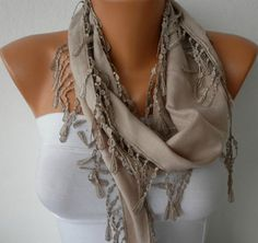 SUMMER: Beige Scarf    Pashmina Scarf   Headband Necklace Cowl by fatwoman, $13.50