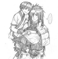 Drawing of young Hashirama and old Uchiha Madara ~ Anime Naruto, Naruto Shippuden Sasuke, Naruto Art, Kakashi, Boruto, Anime Manga, Madara And Hashirama, Shikamaru, 1 Hokage