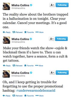 Absolutely love Misha's SPN promotions via Twitter ; )