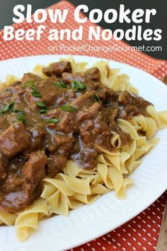 Slow Cooker Beef and Noodles :: Recipe on PocketChangeGourmet.com.      I made this with venison. Served over mashed potatoes and a dollop of sour cream on the meat.