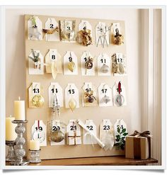 Pottery Barn Advent calendar - nature theme or metallic bling ornaments - Christmas Countdown with Style + Advent Ideas Christmas Countdown, Days Till Christmas, Christmas Holidays, Christmas Crafts, Christmas Decorations, Christmas Ornaments, Christmas Ideas, Birthday Countdown, Christmas Calendar